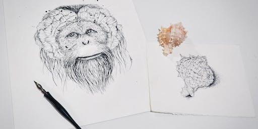 Inktober Pen and Ink ARTICraft Art Workshop class. All levels welcome
