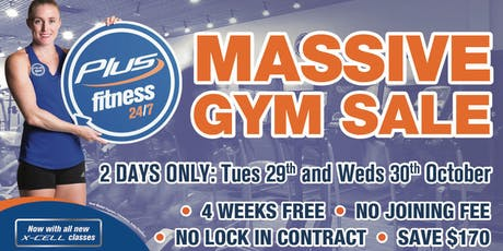 Plus Fitness Chatswood MASSIVE annual GYM SALE tickets