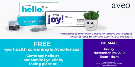 Free Eye Health Screening & Aveo Contacts at Damansara City Mall, KL tickets