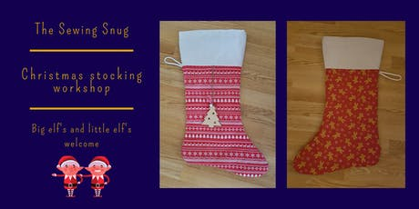 Reversible Christmas stocking sewing workshop tickets