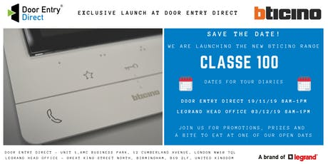 Bticino Classe 100 Product Range Open Day Launch At Door Entry Direct tickets