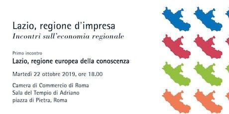 Lazio, regione europea della conoscenza biglietti