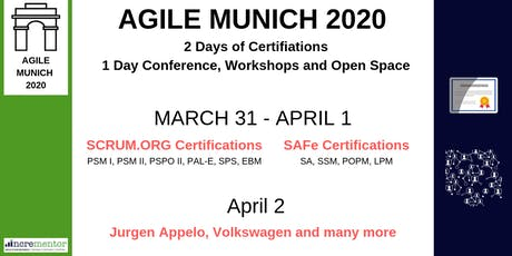 AGILE MUNICH 2020 | March 31 - April 2 | Certifications, Conference, Workshops and Open Space tickets