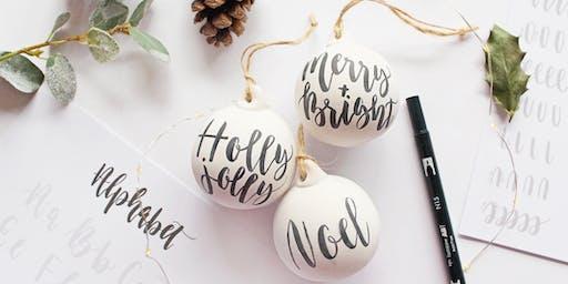 Christmas Bauble Brush Lettering Workshop