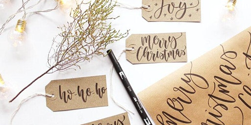 Christmas Wrapping Paper + Gift Tags Brush Lettering Workshop