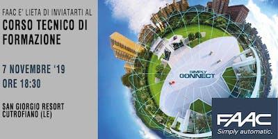 CORSO TECNICO DI FORMAZIONE FAAC  - 7 Novembre  ore 18.30