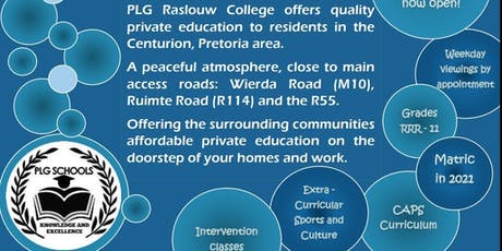 PLG Raslouw College - OPEN DAY 19 October 2019 9h00 - 12h00 tickets