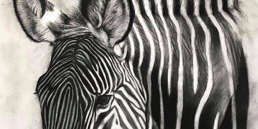 Charcoal Zebra 'n Champaign - Social Art Class