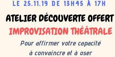 """Atelier découverte OFFERT - """"IMPROVISATION THEATRALE"""""""