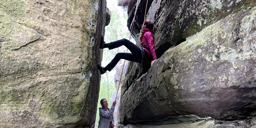 Women only climbing at the sandstone crags of Harrison's Rocks
