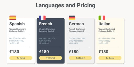 Learn a language in 8 Weeks! Spanish, French, German, Italian, Portuguese