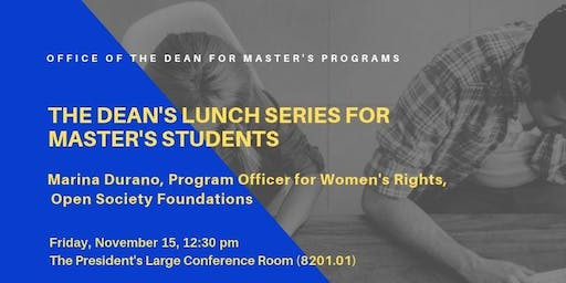 Dean's Lunch Series for Master's Students - Marina Durano