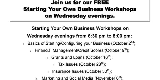 Starting Your Own Business Workshops:  Tax Issues