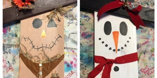 Flip & Sip!  Scarecrow on one side Snowman on the other!  BYOB