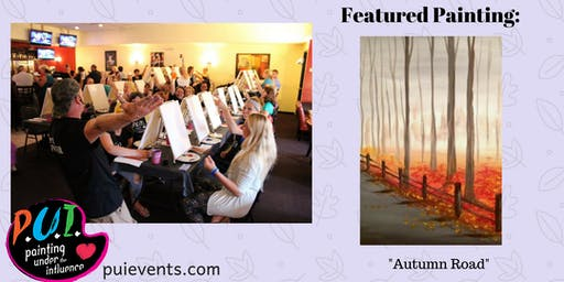 """Painting Under the Influence-""""Autumn Road"""" at True North Ale Company Ipswich, MA"""