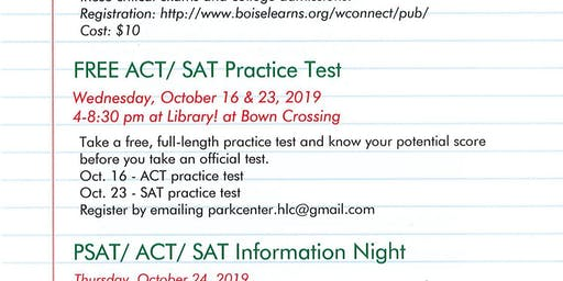 Free practice SAT and ACT tests at the Library! at Bown Crossing