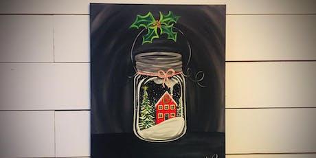 Winter Scene Mason Jar  - paint lesson tickets
