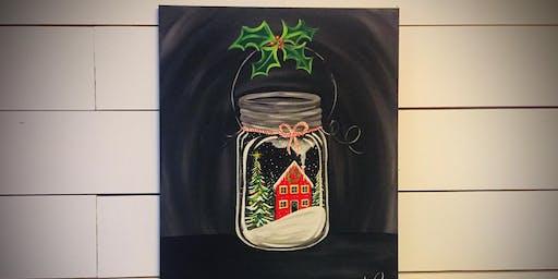 Winter Scene Mason Jar  - paint lesson