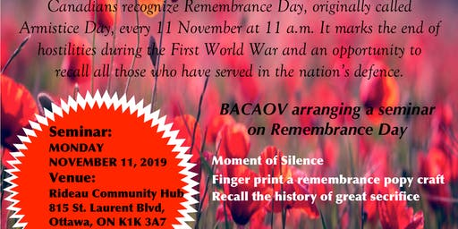 Remembrance Day 2019 - organized by BACAOV