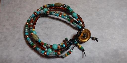 Leather Boho Beaded Bracelet