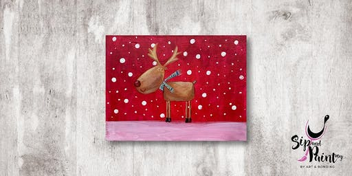Sip & Paint MY @ Hubba Mont Kiara : The Red-Nosed Reindeer