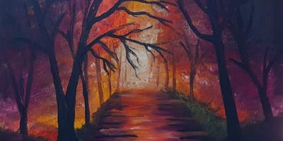 Paint and Sip Brisbane 2 for 1 offer Forest Walk Painting