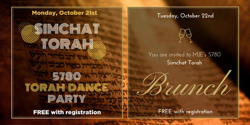 MJE Simchat Torah for 20s & 30s 2019: FREE Night Party, Day Boozy Brunch