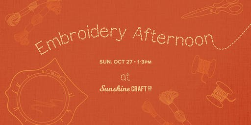 Fiber Fun: Embroidery Afternoon and Kate Hughes Pop Up