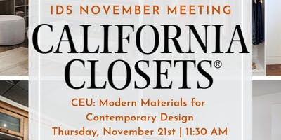 IDS DFW November Meeting | California Closets CEU