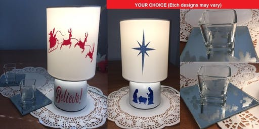 Holiday Lamp or Etched Mirror with Votive Event