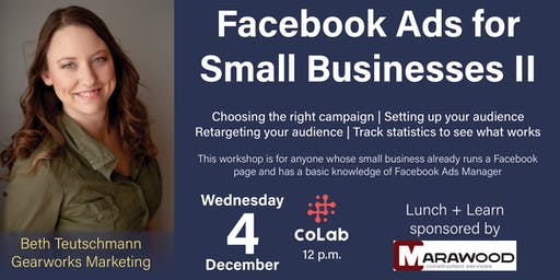 Lunch + Learn at CoLab- Facebook Ads for Small Businesses II
