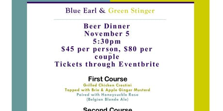 Blue Earl Beer Dinner at the Green Stinger tickets