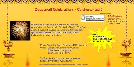 Colchester Deepavali 2019 ( Now Soldout)