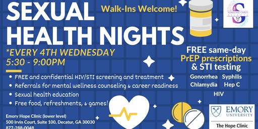 Emory Hope Clinic: 4th Wednesday's Sexual Health Night