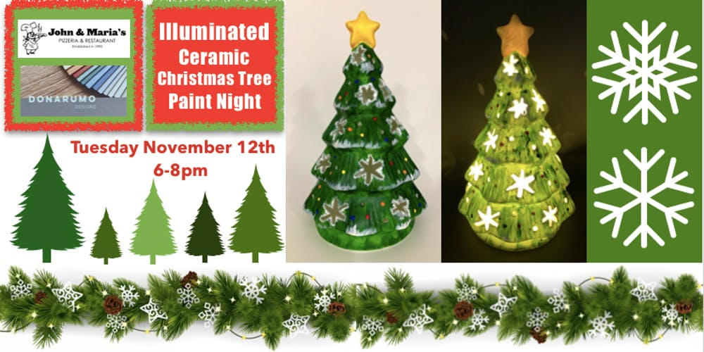 Image Christmas Tree.Illuminated Ceramic Christmas Tree Paint Night