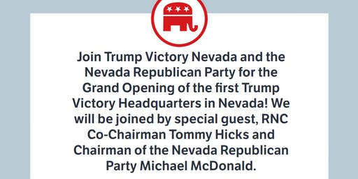 Oct. 22nd- Trump Victory Headquarters Opening w/ RNC Co-Chair Tommy Hicks