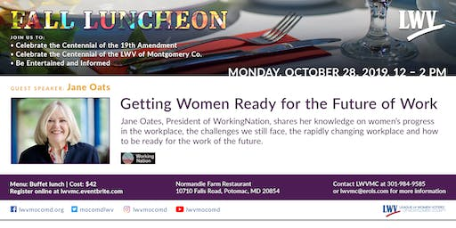LWVMC 2019 Fall Luncheon - Getting Women Ready for the Future of Work