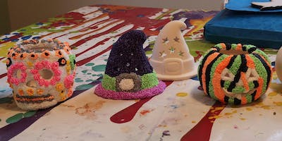 Halloween Pottery Painting and Sand Art