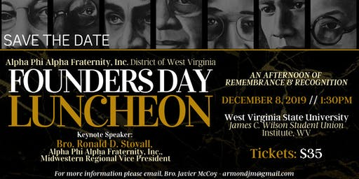 Alpha Phi Alpha Fraternity, Inc., District of WV - Founders' Day Luncheon