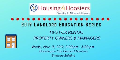 Fall 2019 Housing4Hoosiers Landlord Education Series