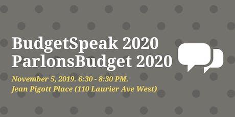 BudgetSpeak 2020 // ParlonsBudget 2020 tickets