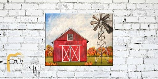 Barn and Windmill Painting - Lauren's Art Club