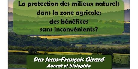 La protection  des milieux naturels  dans la zone agricole billets