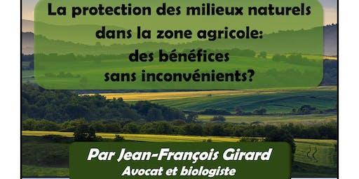 La protection  des milieux naturels  dans la zone agricole