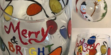 Holiday Glassware Painting with Painting & Vino tickets