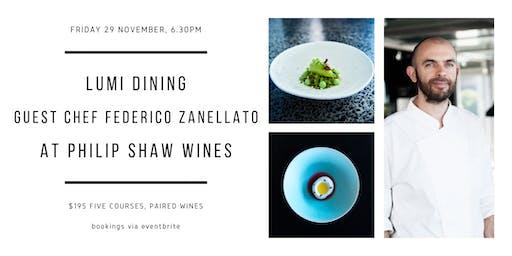 LuMi dining Chef Federico Zanellato at Philip Shaw Wines
