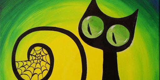 Kids Class, Painting Black Cat Acrylic on Canvas Saturday October19