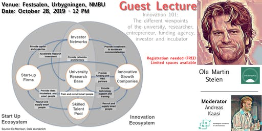 "Guest Lecture-Ole Martin Steien, Inkubator Ås: ""Innovation 101"""