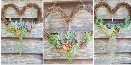 Trailing Succulent Heart Wreath