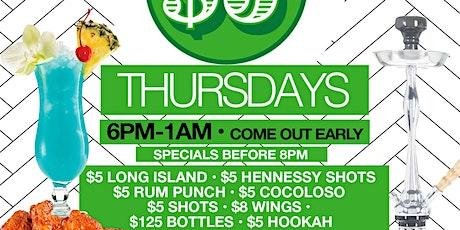 $5 THURSDAYS • EVERYONE FREE ON RSVP • $8 WINGS • $5 SHOTS • $5 RUM PUNCH • $5 HOOKAH• AFROBEATS • SOCA • REGGAE • HIP-HOP • R&B  tickets